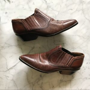Vintage Tribeca Leather Ankle Western Boots